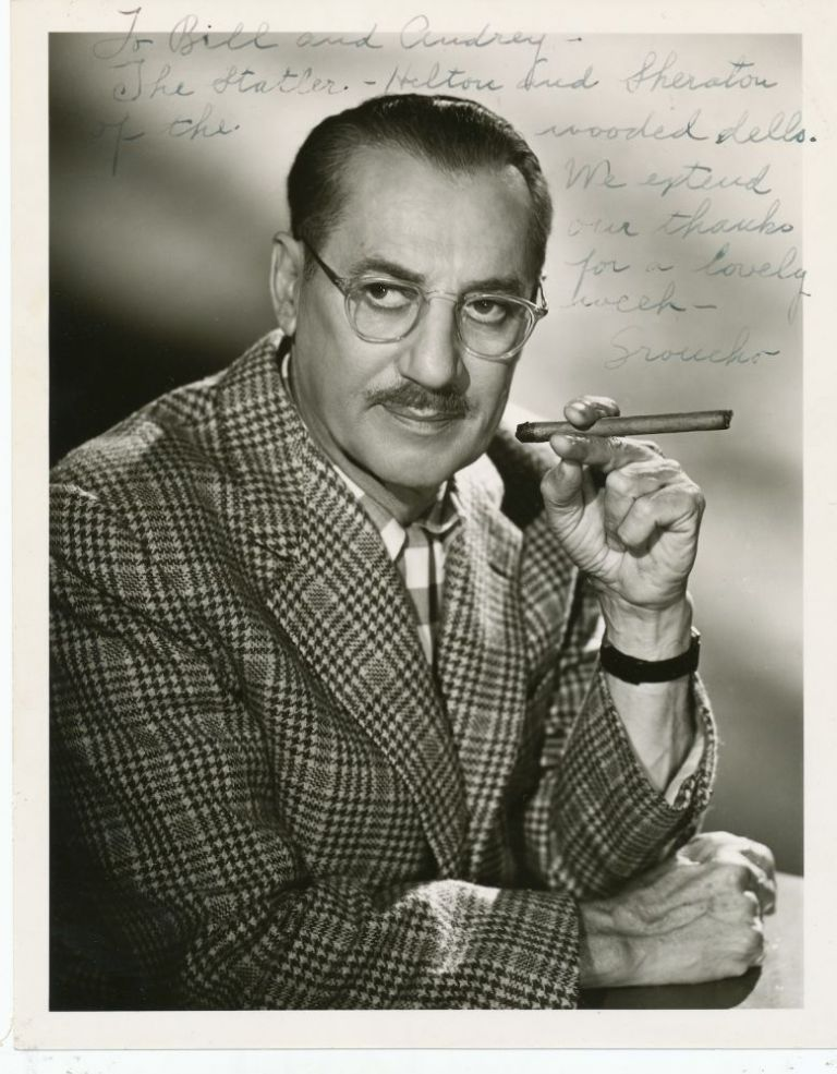 Photograph Signed and inscribed, ca 1950s. GROUCHO MARX, Julius Henry.
