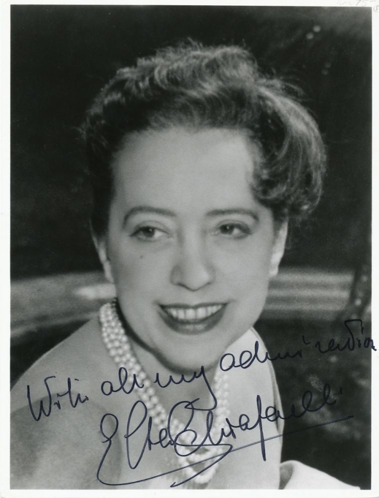 Photograph Signed, 7 x 9 inches, black and white. ELSA SCHIAPARELLI.
