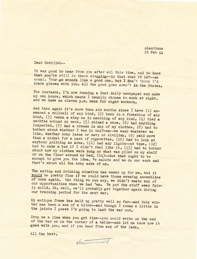 Typed Letter Signed, 2 separate pages 4to, Aleutian Islands, Feb. 19, 1944. SAMUEL DASHIELL HAMMETT.