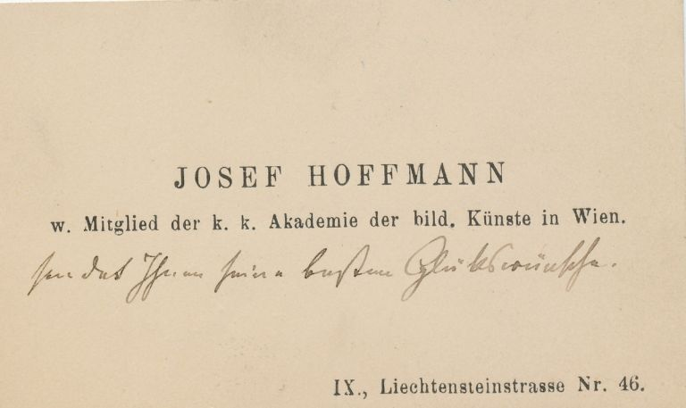 Autograph Note in German, Unsigned on visiting card with envelope. JOSEF HOFFMANN.