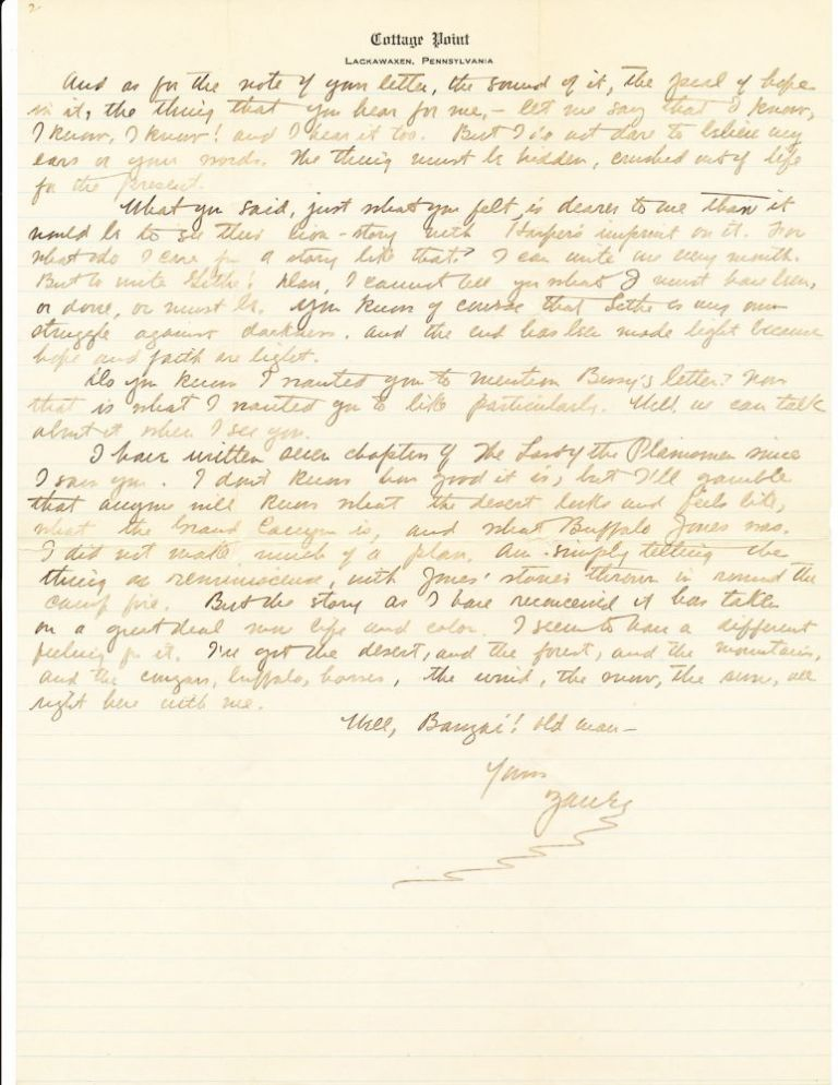 "Substantive Autograph Letter Signed referencing ""The Last of the Plainsmen"" and Buffalo Jones, 2 separate pages 4to, on lined ""Cottage Point, Lackawaxen, Pennsylvania"" stationery, Christmas Day 1907. ZANE GREY."