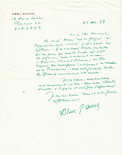 A.L.S., in French, 4to, 12 rue de Sevres, 25 Dec. '68. ABLE GANCE.