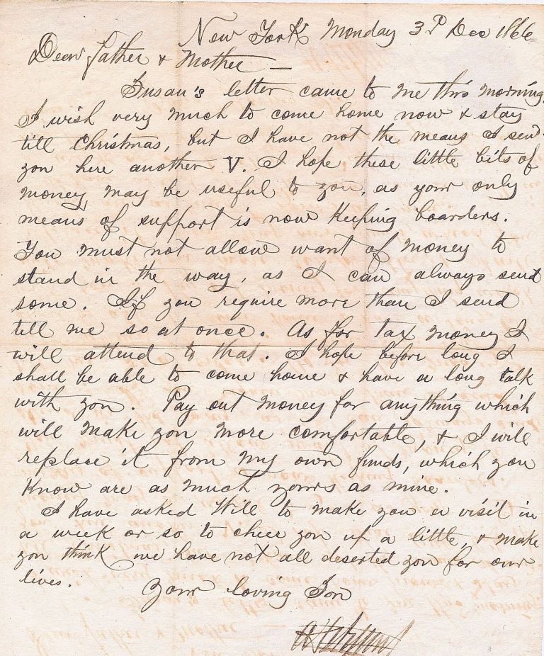 Autograph Letter Signed, 4to, one page of onion skin paper, New York, December 16, 1866. ALEXANDER H. WYANT.