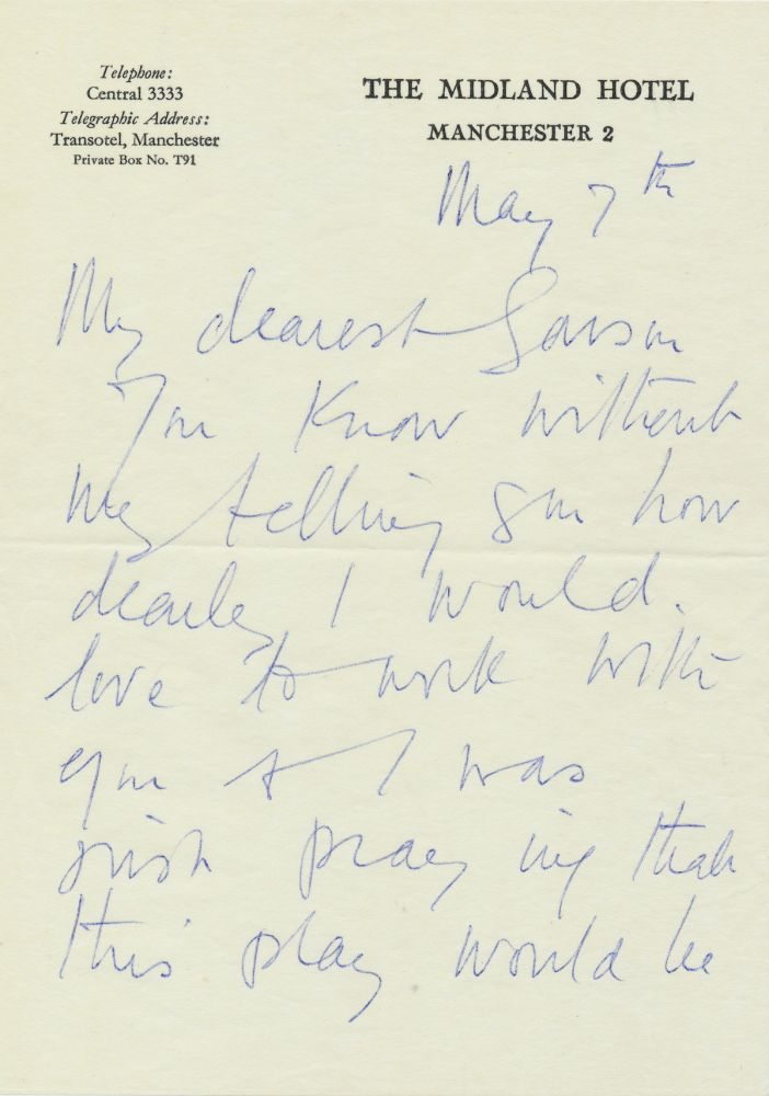 """Autograph Letter Signed to author and director, Garson Kanin Postmarked May 7, 1965, 5 separate onion skin sheets of """"The Midland Hotel"""" stationery, small 8vo, Manchester,, May 7, 1965, with holograph envelope postmarked. VIVIEN LEIGH."""
