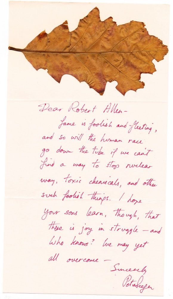 """Seeger refers to """"We Shall Overcome"""" in his Autograph Letter Signed with maple leaf attached, on pink stationery, with Signed transmittal envelope postmarked, New York, Jan. 26, 1982. PETE SEEGER."""