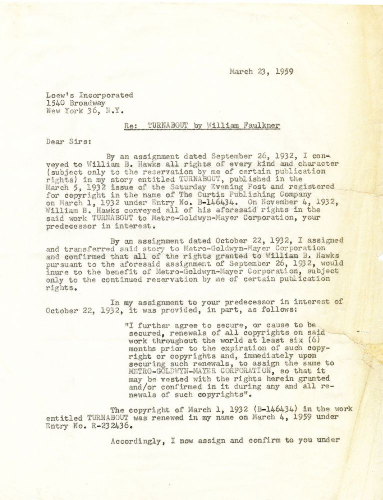 """""""Turnabout,"""" Film Contract for Faulkner's first story-to-screen adaptation, Signed, 2 4to pp, New York, March 23, 1959. WILLIAM FAULKNER."""