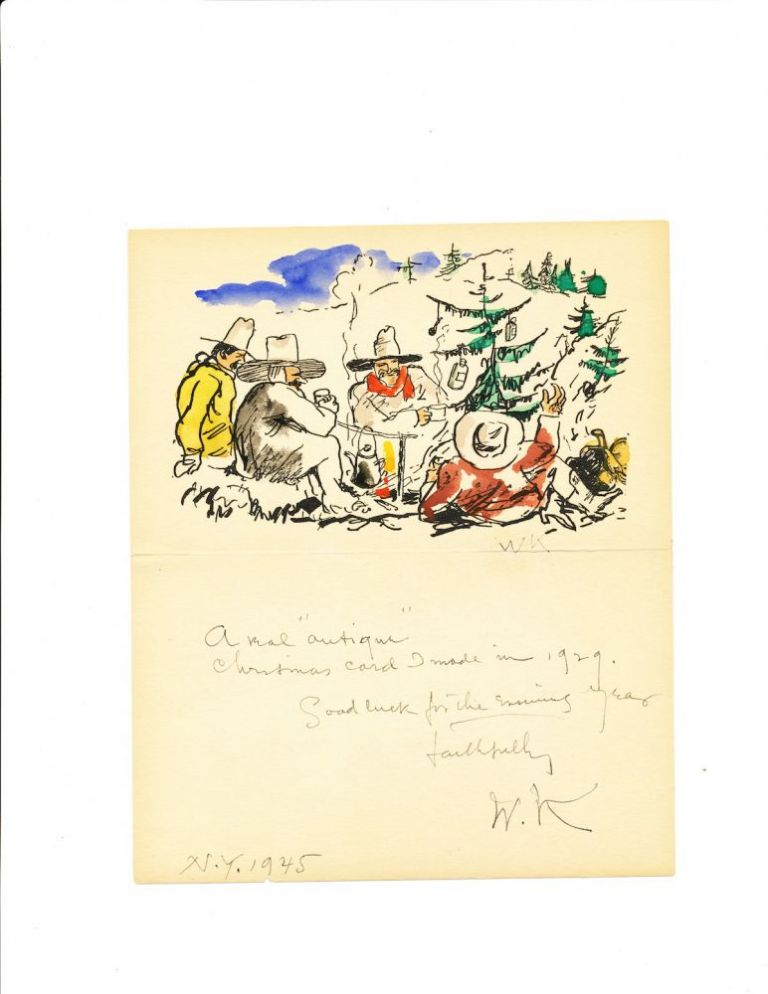 Autograph Letter Signed with initials on mechanical relief reproduction of a hand colored drawing, 8vo, New York, 1945. WALT KUHN.
