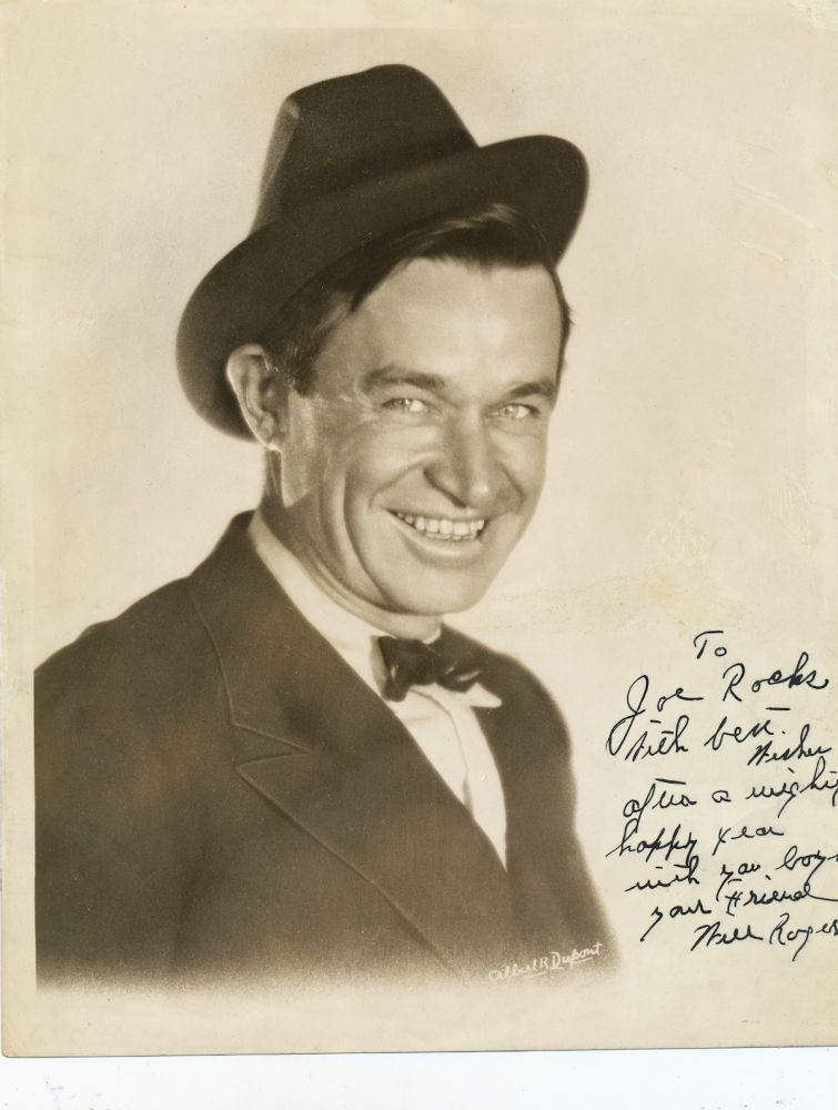 Wonderful Signed Photograph, 4to, n.p., n.d. WILL ROGERS.