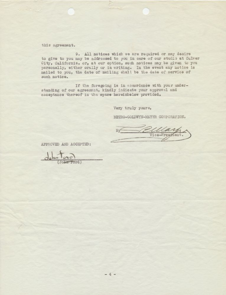 Document Signed by Ford and Mayer as Vice President of MGM studios, a contract between Ford and MGM for services as director, 4 separate 4to pages, Culver City, May 3, 1932, also initialed on first page by both. JOHN FORD, LOUIS B. MAYER.