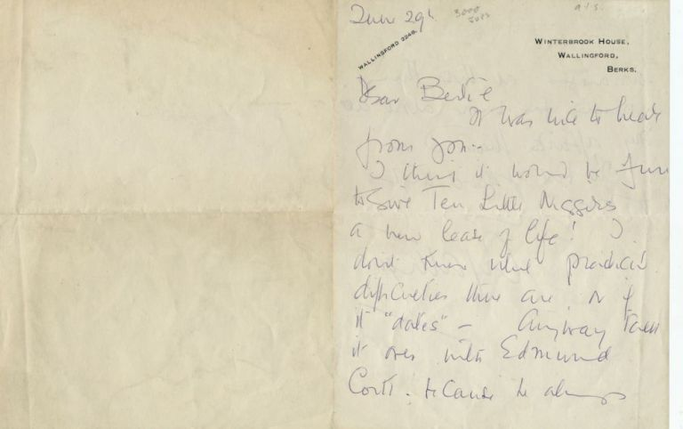 Autograph Letter Signed, 2pp on one folded 8vo sheet, Walingford, June 29, n.y. AGATHA CHRISTIE.