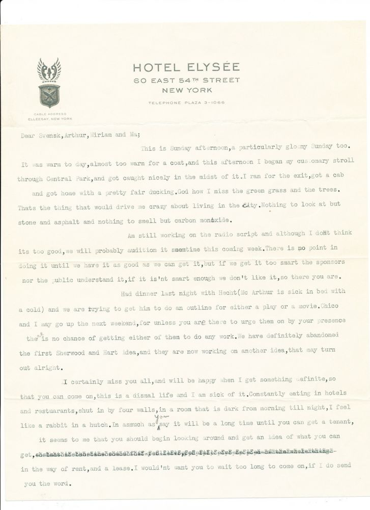 Groucho Marx Julius Henry Typed Letter Signed With Annotations