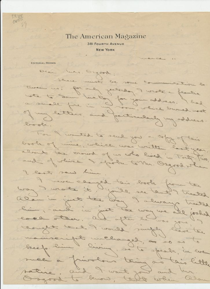 """Rare Autograph Letter Signed, from the Paul Richards Collection, 3 pp, two of which are on """"The American Magazine, New York"""" letterhead, 4to, with holograph envelope, New York, March 11, no year, but 1913 or 1914. . JOHN REED."""