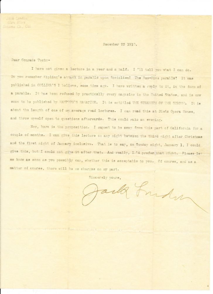 Typed Letter Signed, large 4to, [Sonoma, California} Dec. 22, 1910. JACK LONDON.