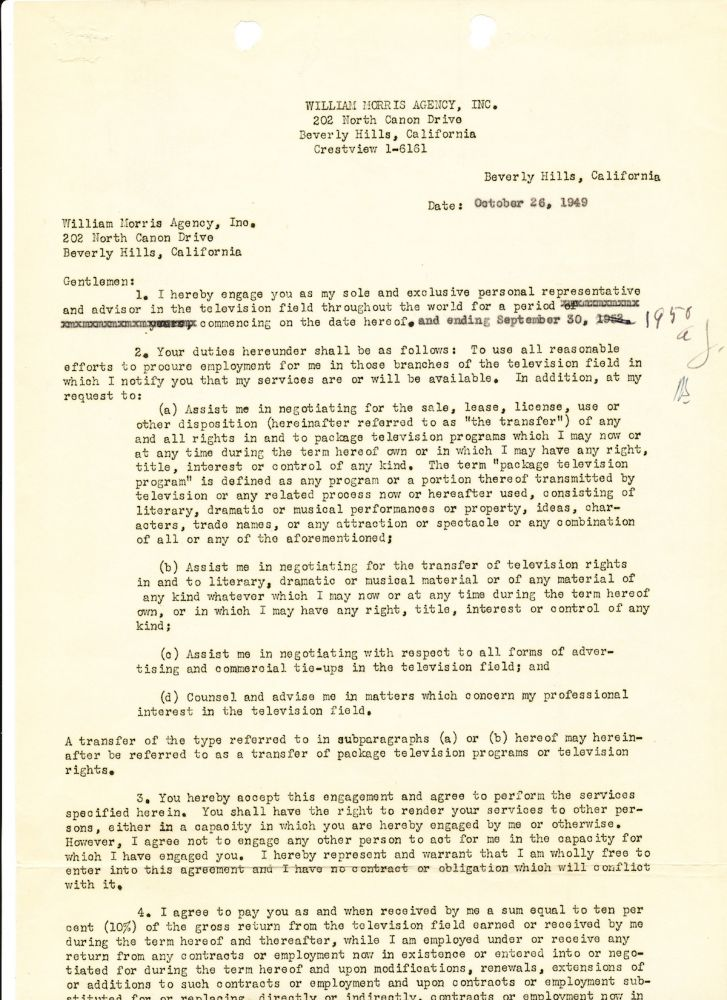Printed and Typed Document Signed and also initialed, 2 pages on two separate folio sheets, Beverly Hills, CA, Oct. 26, 1949. AL JOLSON.