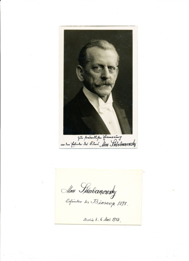 Signed Post Card Photograph with Biographic Notation, in German, AND Signed 12 mo card with same notation dated, Berlin, May 3, 1933. MAX SKLADANOWSKY.