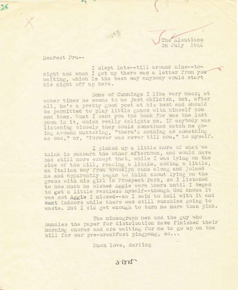 Typed Letter Signed, 4to, The Aleutians, July 26, 1944. SAMUEL DASHIELL HAMMETT.