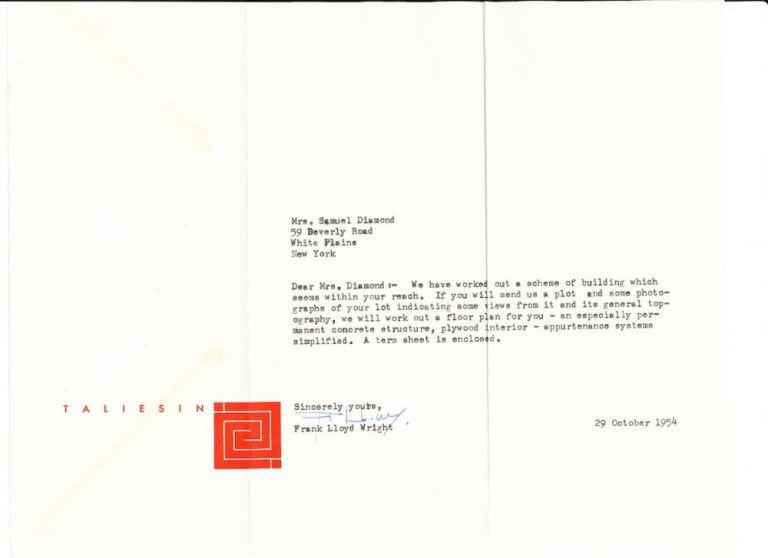 Typed Letter Signed on red emblematic Taliesin stationery, horizontal 4to, October 24, 1954, envelope postmarked Spring Garden, Wisconsin. FRANK LLOYD WRIGHT.