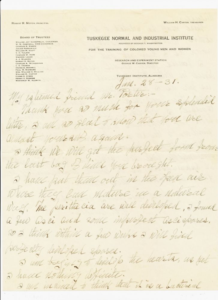 "Autograph Letter Signed, 2pp on one sheet of ""Tuskegee Normal and Industrial Institute"" stationery, 4to, Tuskegee, Jan. 28, 1931. GEORGE WASHINGTON CARVER."