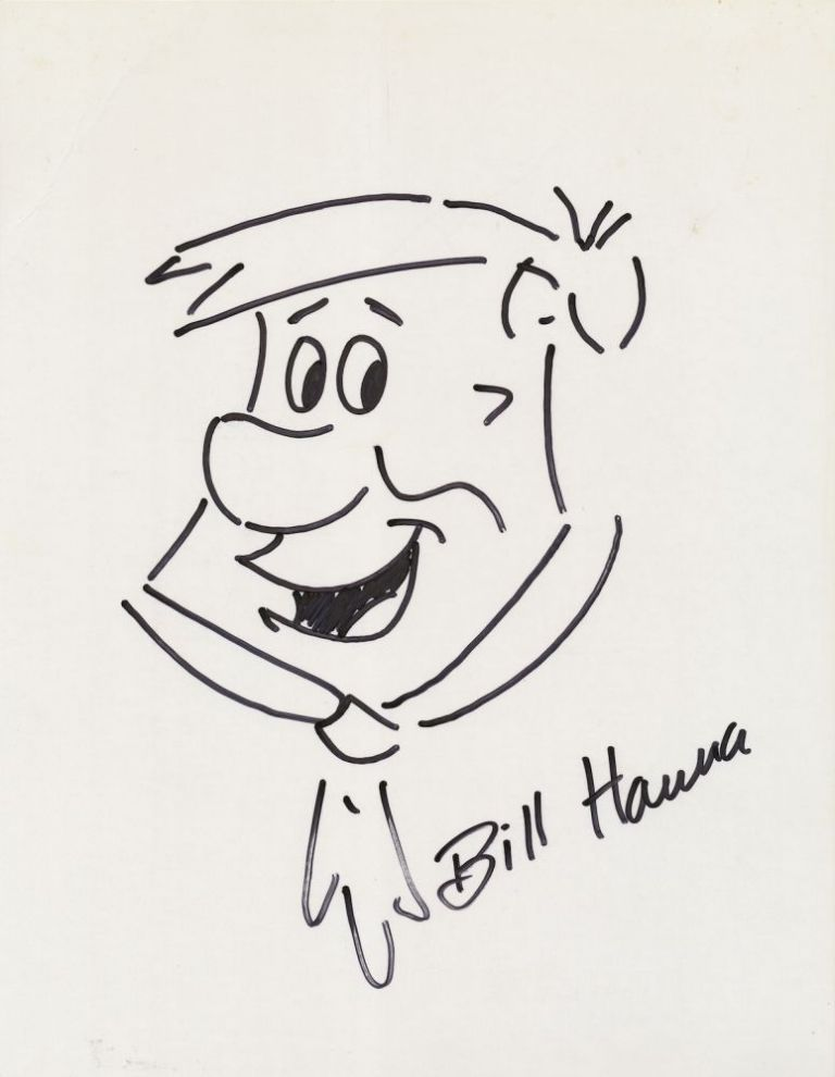 Original Signed Drawing of Fred Flintstone, on card stock, approximately 8 x 10, n.d. WILLIAM HANNA, BILL.
