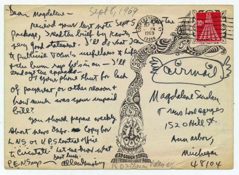 Autograph Letter Signed with Illustration on a picture postcard of Family Dog Productions, Sept. 8, 1969. ALLEN GINSBERG.