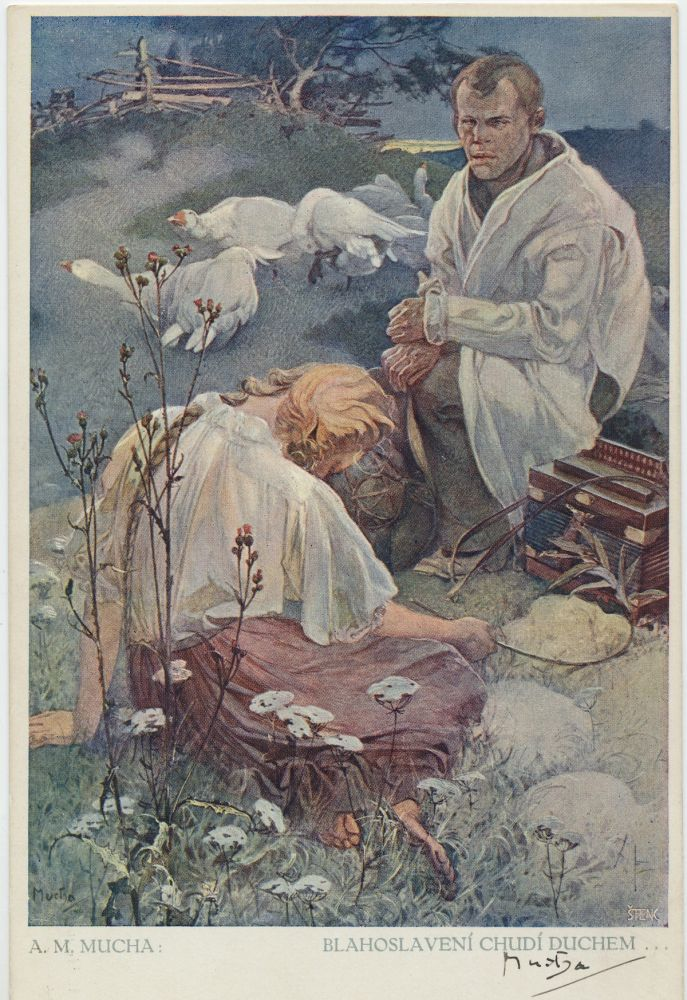 """""""Blessed Are the Poor Spirit."""" Signed Color Art Reproduction Postcard, title translated as, """"Blessed Are the Poor Spirit."""" ALFONS MUCHA."""
