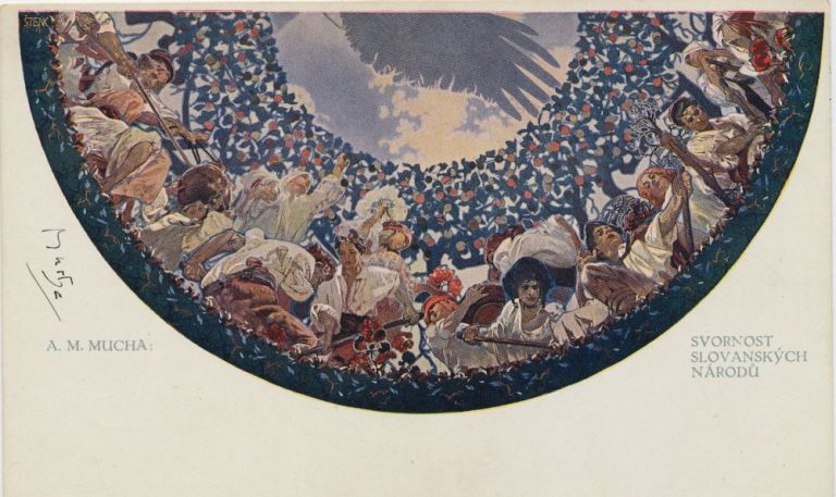 """""""Concord of Slovakian Nation."""" Signed Color Art Reproduction Postcard, title translated as, """"Concord of Slovakian Nation."""" ALFONS MUCHA."""