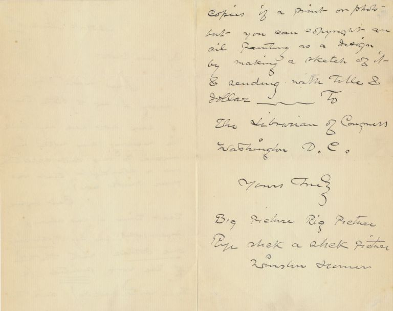 Scarce Autograph Letter Signed to fellow painter Julian Scott, 2 separate 8vo pages, New York, March 16, 1887. WINSLOW HOMER.
