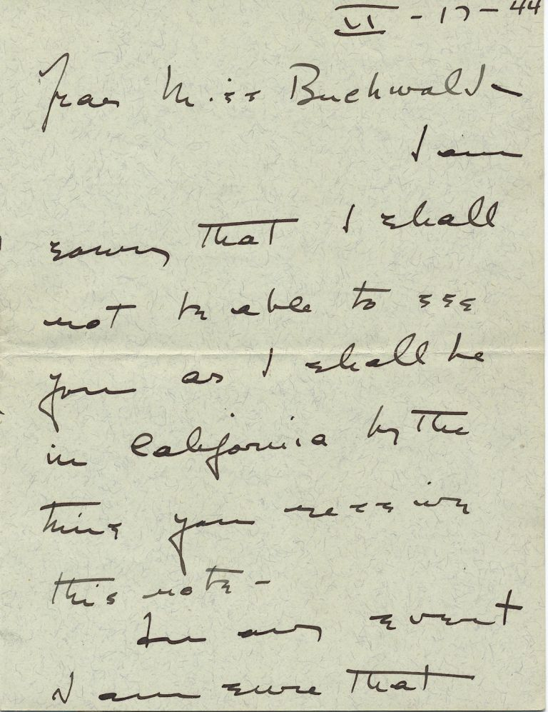 Autograph Letter Signed, 3 adjoining pages 8vo, n.p. (but postmarked Hartford, Connecticut), February 17, 1944. KATHARINE HEPBURN.