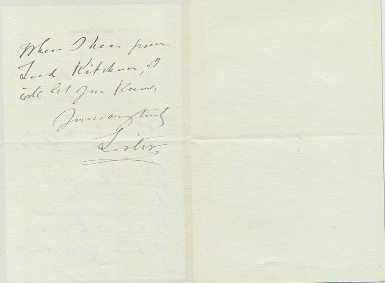 Autograph Letter Signed geologist Archibald Geikie, 2pp on small 8vo black bordered mourning stationery, Portland Place, Nov. 29, 1898. JOSEPH LISTER.