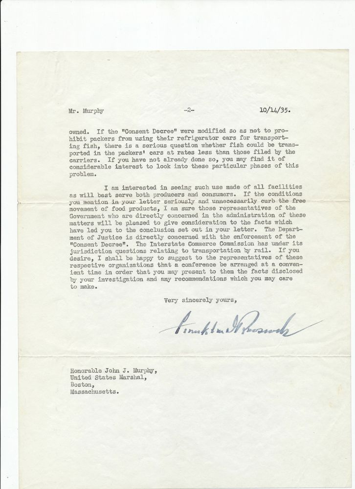 "Typed Letter Signed, on White House stationery bearing watermark of Presidential seal, from aboard the ""U.S.S. Houston,"" 2 separate 4to pp, Oct. 14, 1935. FRANKLIN DELANO ROOSEVELT."
