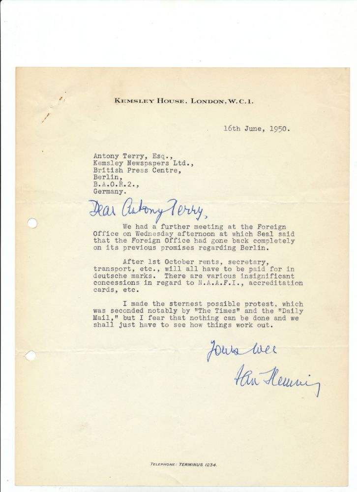 "Typed Letter Signed with holograph additions, on 4to ""Kemsley House,"" London, June 16, 1950. Paired with gelatin silver print photograph showing Fleming holding a pistol, 12mo. IAN FLEMING."