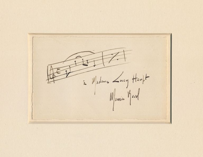 Scarce Autograph Musical Quotation Inscribed and Signed, on post card size card attached to a slightly larger sheet. MAURICE RAVEL.