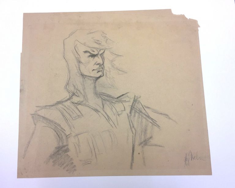 Original Drawing Signed in exceptionally large format, charcoal sketch of a generic hero, archival framing. KAY NIELSEN.