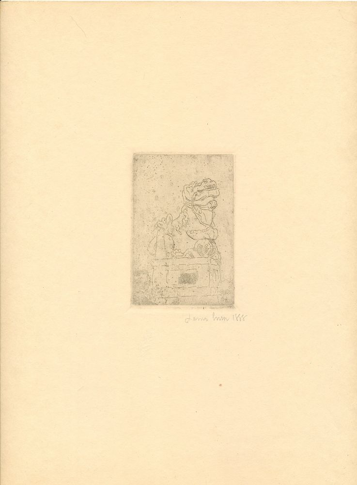 """""""La Chimere,"""" zinc engraving fully signed and dated """"James Ensor 1888,"""" in pencil. According to Albert Croquez catalog of Ensor engravings (1947) , the head in the lower left corner is that of Rousseau's son. The image measures about 2 x 3 inches on a 4to sheet, 4to, From the collection of Augusta Bogaerts, life long friend of Ensor. The artist's name """"Ensor'' is written in pencil along the verso imprint. Exceptional in association and fine condition. JAMES ENSOR."""
