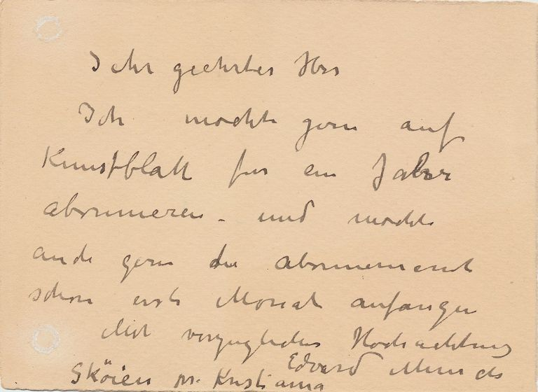 """Scarce Autograph Letter Signed, in German, on small 8vo stationery card, """"Sköien near Kristiania,"""" n.d. but most likely late 1916. EDVARD MUNCH."""