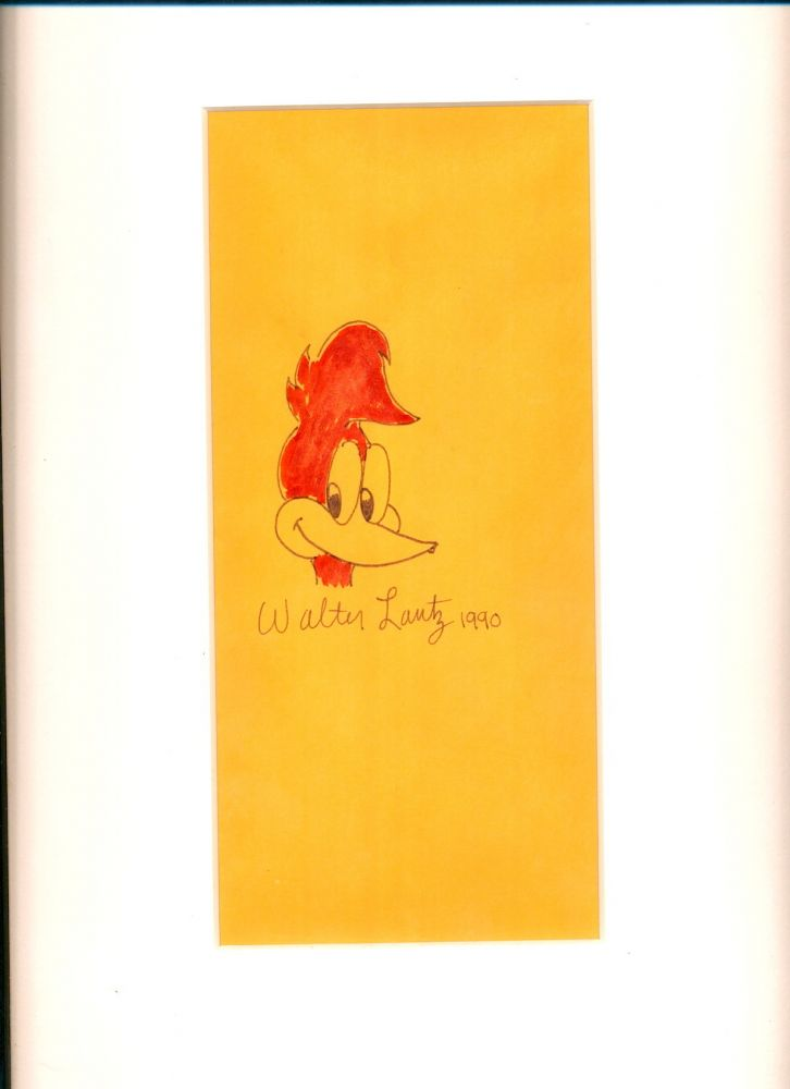 Original Hand Colored Drawing Signed, oblong 8vo, 1990. WALTER LANTZ.