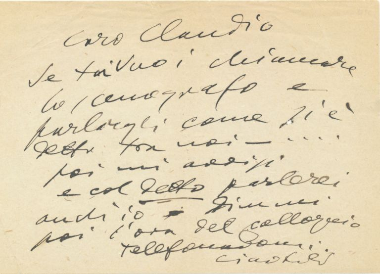 Autograph Letter Signed, in Italian, 8vo, n.p., n.d. GIACOMO PUCCINI.