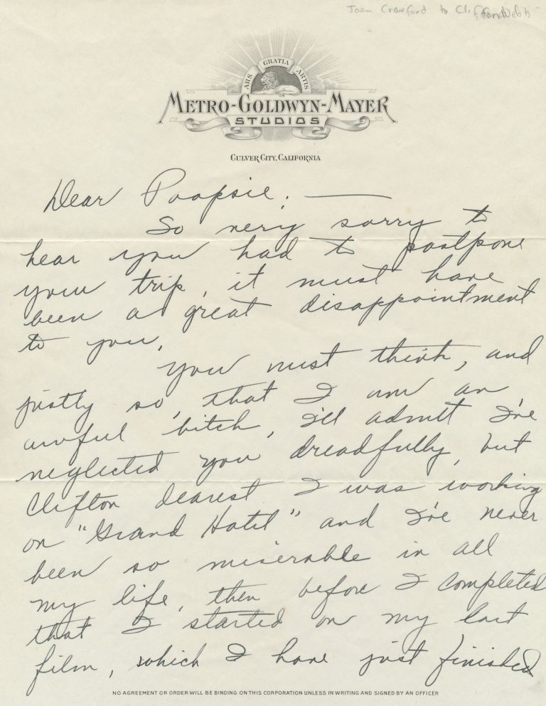 "Autograph Letter Signed ""Puss,"" and referencing ""Grand Hotel,""on ""Metro-Goldwyn-Mayer Studios"" stationery, 2 separate pp, Culver City on stationery, n.d but ca 1931. With transmittal envelope in Crawford's hand on MGM stationery. JOAN CRAWFORD."