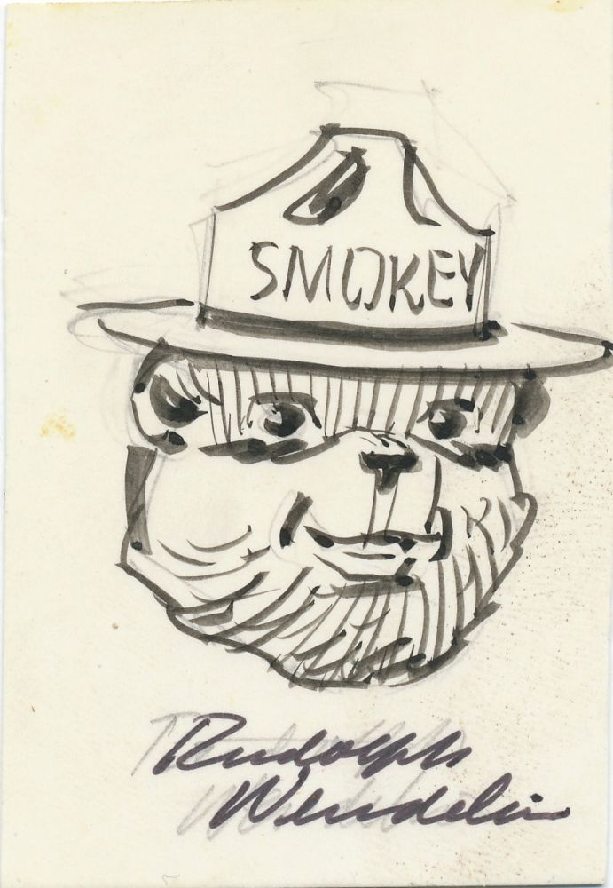 Original pen and ink Signed Drawing, showing the smiling face of Smokey the Bear, on a card measuring 2 x 3 inches. RUDOLPH WENDELIN.