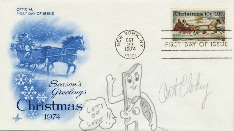 "Original Signed Drawing, in pencil, on First Day Cover honoring Christmas 1974, issue stamp, ""New York, N.Y., Oct. 23, 1974."" ART CLOKEY."