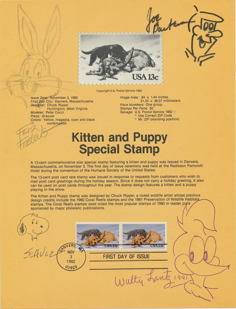Signed Original Cartoon Sketches by the creators of their well known cartoon characters 8 x 10 inch sheet First Day Cover commemorating kittens and puppies, 1982. CARTOON ART.