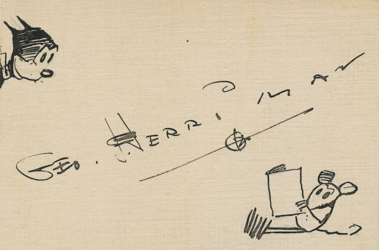 Krazy Kat and Ignatz. Signed drawing on hand cut slightly uneven 12 mo card stock, about 3 x 4, of Krazy Kat looking from left margin at Ignatz reading. Herriman signed diagonally across the center. GEORGE HERRIMAN.