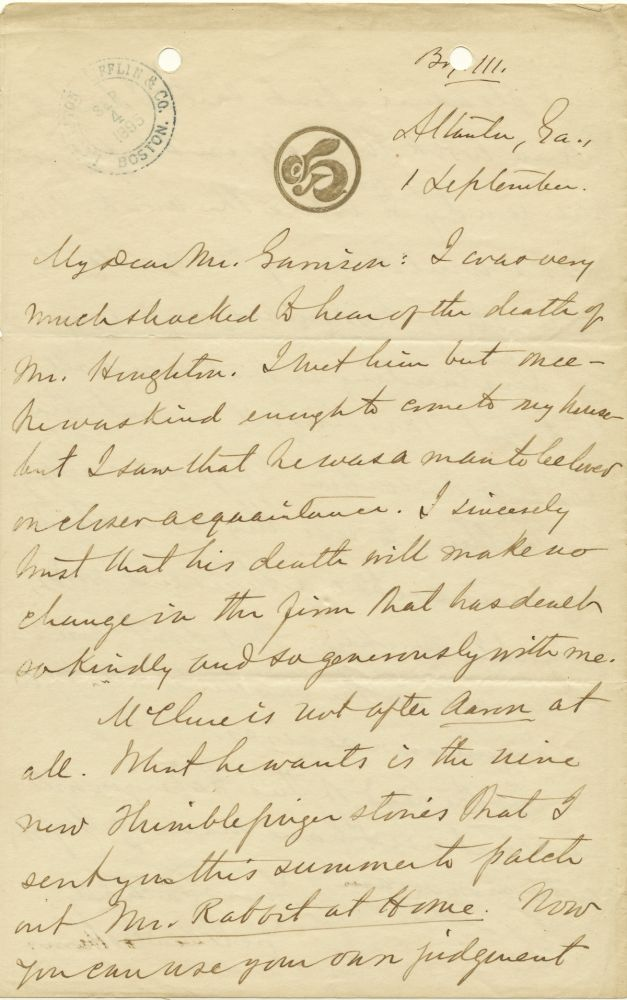 Substantive Autograph Letter about publishing Signed, 2pp on one 8vo sheet, on first and fourth pages, Atlanta, GA, 1 September, n.y.(ca 1895). JOEL CHANDLER HARRIS.