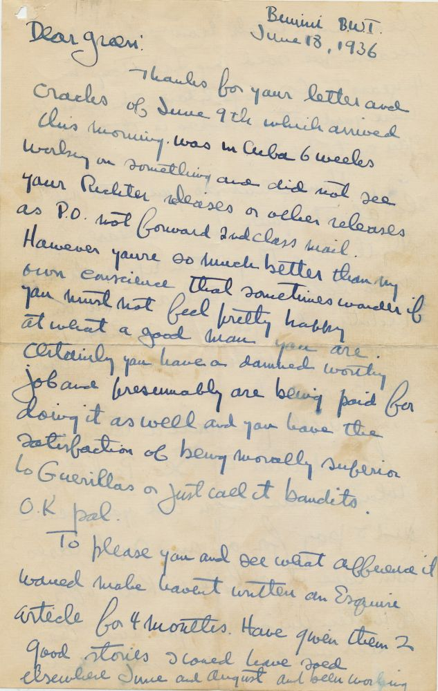 """Outstanding Autograph Letter Signed, 6 pp on 3 sheets, 4to, Bimini, BWI, June 28, 1936, with transmittal envelope, """"your press release"""" written on envelope flap. ERNEST HEMINGWAY."""