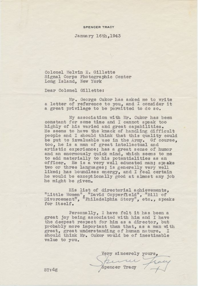 Typed Letter Signed on behalf of George Cukor, 4to on personal printed stationery, n.p., January 16, 1943. SPENCER TRACY.