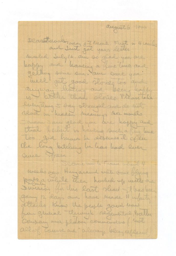 Rare War time Autograph Letter Signed to Martha Gellhorn, 6 separate 8vo pp of tan graph paper, August 6, 1944. This letter is one of a handful of surviving Hemingway letters to Gellhorn. According to her son Sandy Gellhorn, some months before her death in 1998, Martha burned most of her correspondence files, including her letters from Hemingway. Sandy was able to interrupt the process, saving this letter from destruction. ERNEST M. HEMINGWAY.