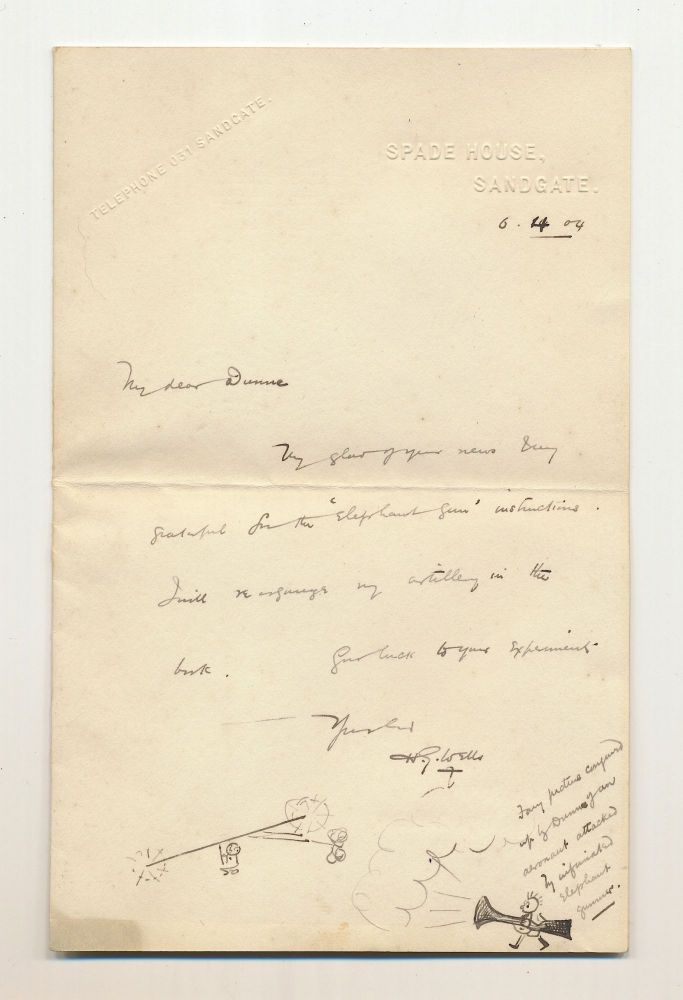 Illustrated Autograph Letter Signed, on blind embossed personalized stationery, Sandgate, April 6, 1904. H. G. WELLS.