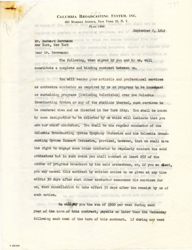 "Typed Document Signed, 4 pages 4to, on ""Columbia Broadcasting System"" stationery, New York, Sept. 9, 1949. BERNARD HERRMANN."
