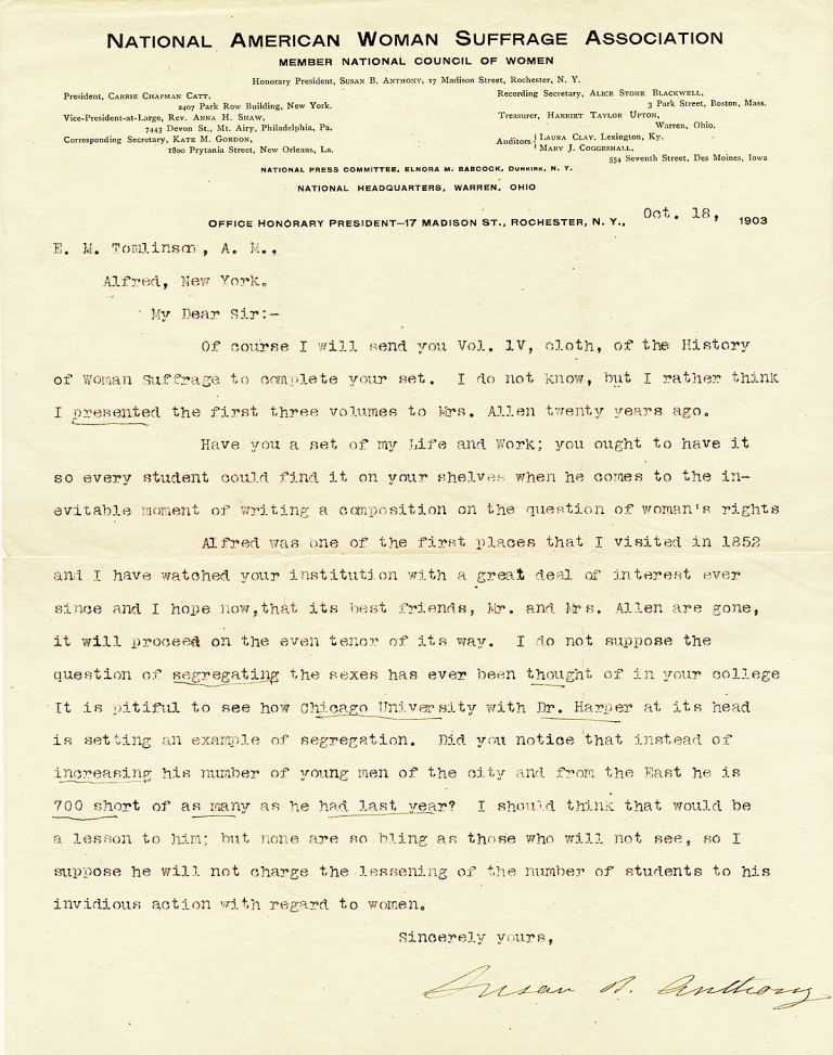 """Exceptional Typed Letter Signed on """"National American Women Suffrage Association"""" stationery, 4to, Rochester, New York, October 18, 1903. SUSAN B. ANTHONY."""