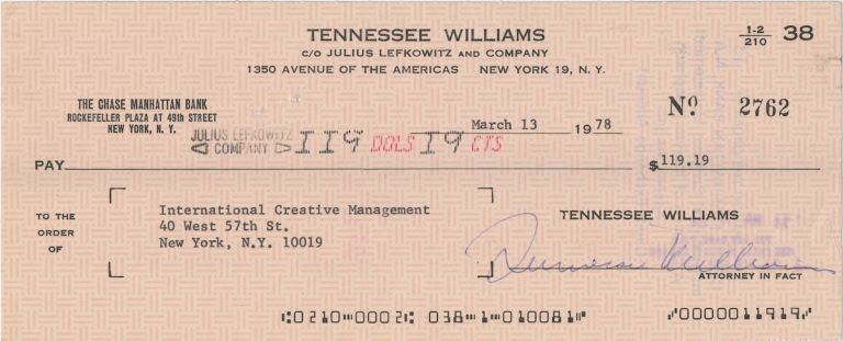 Document Signed, oblong 8vo, March 13, 1978. TENNESSEE WILLIAMS.